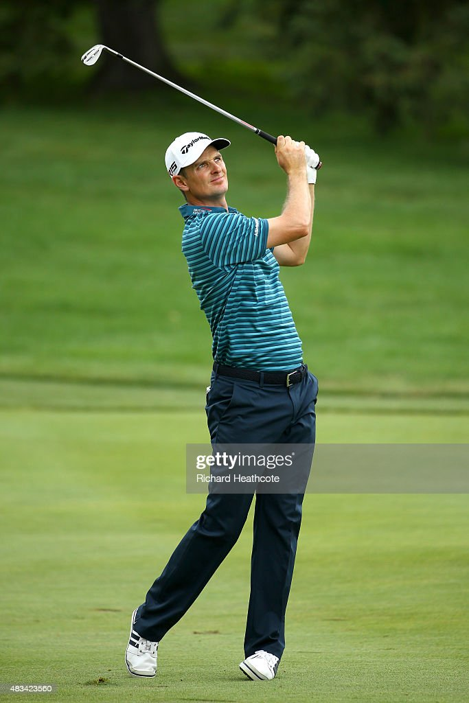 Justin Rose of England plays his third shot on the 16th hole during the third round of the World Golf Championships - Bridgestone Invitational at Firestone Country Club South Course on August 8, 2015 in Akron, Ohio.
