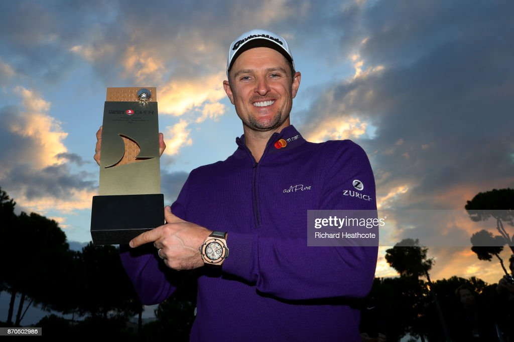 Justin Rose of England poses with the trophy after his victory during the final round of the Turkish Airlines Open at the Regnum Carya Golf & Spa Resort on November 5, 2017 in Antalya, Turkey.