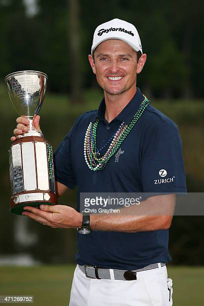 Justin Rose of England poses with the trophy after winning the Zurich Classic of New Orleans at TPC Louisiana on April 26 2015 in Avondale Louisiana