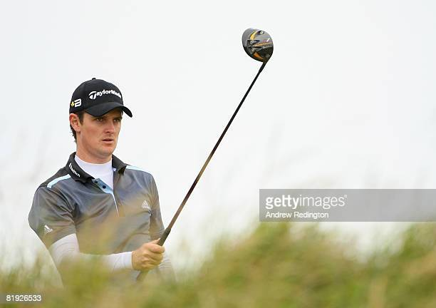 Justin Rose of England prepares to drive off the 17th tee during the first practice round of the 137th Open Championship on July 14 2008 at Royal...