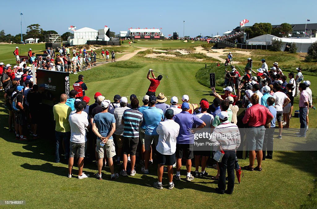 Justin Rose of England putts tees off on the 18th Hole during round three of the 2012 Australian Open at The Lakes Golf Club on December 8, 2012 in Sydney, Australia.