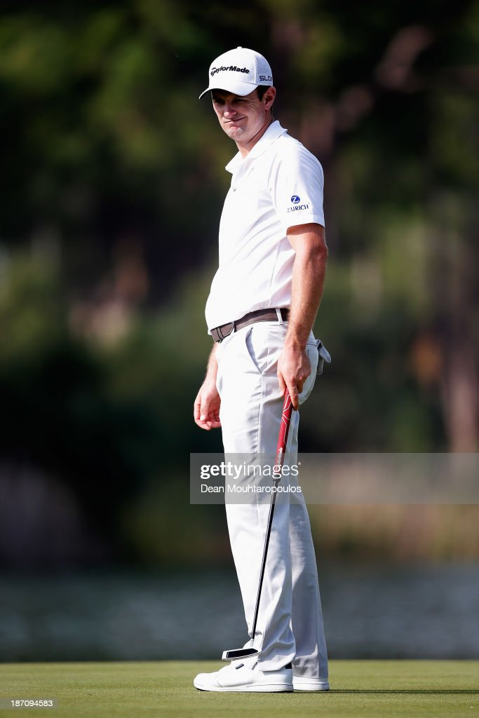 Justin Rose of England reacts after his putt on the 5th green during the pro-am as a preview for the Turkish Airlines Open at Montgomerie Maxx Royal Course on November 6, 2013 in Antalya, Turkey.