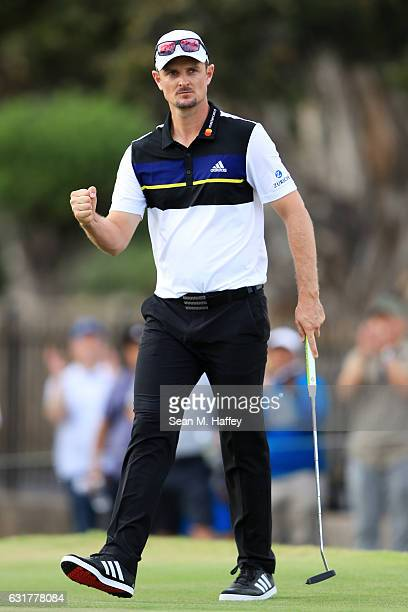 Justin Rose of England reacts on the 15th green during the final round of the Sony Open In Hawaii at Waialae Country Club on January 15 2017 in...