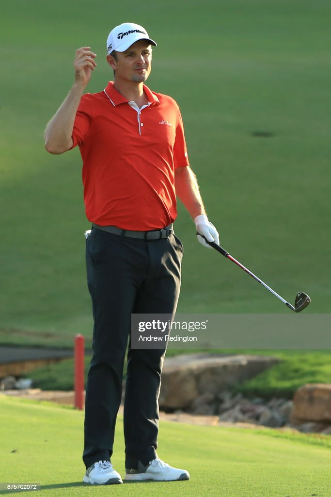 Justin Rose of England reacts on the 18th hole during the third round of the DP World Tour Championship at Jumeirah Golf Estates on November 18, 2017 in Dubai, United Arab Emirates.