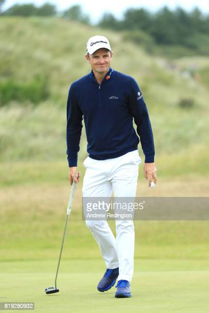 Justin Rose of England reacts on the 7th green during the first round of the 146th Open Championship at Royal Birkdale on July 20 2017 in Southport...
