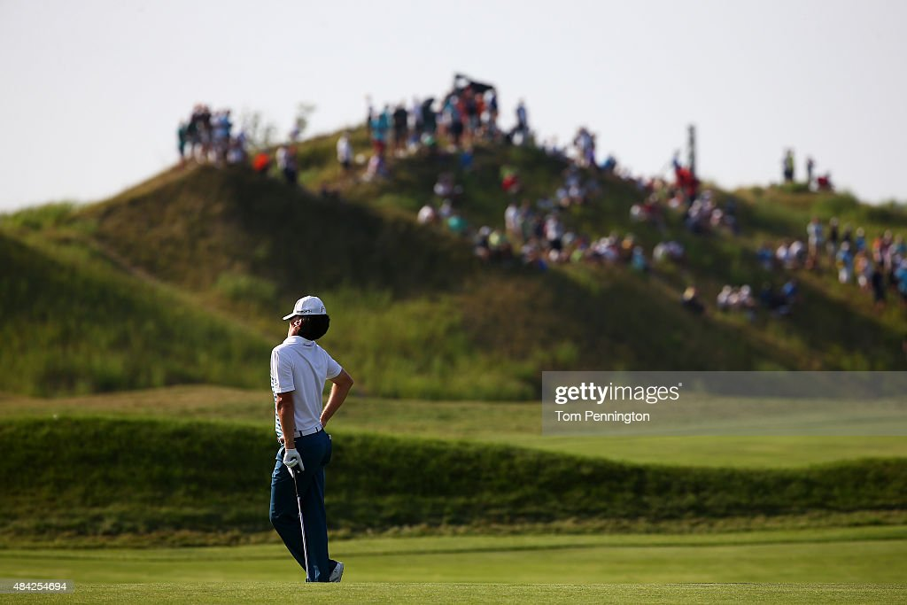 Justin Rose of England reacts to a shot on the 15th hole during the final round of the 2015 PGA Championship at Whistling Straits on August 16, 2015 in Sheboygan, Wisconsin.