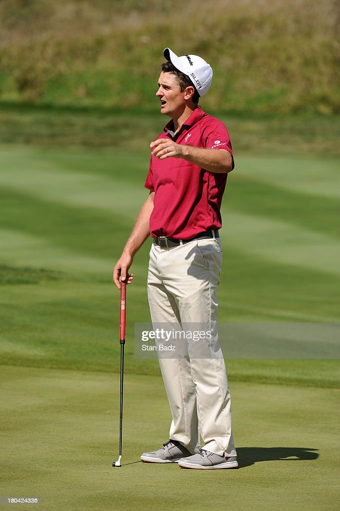 Justin Rose of England reacts to his birdie attempt on the 17th hole during the first round of the BMW Championship at Conway Farms Golf Club on September 12, 2013 in Lake Forest, Illinois.