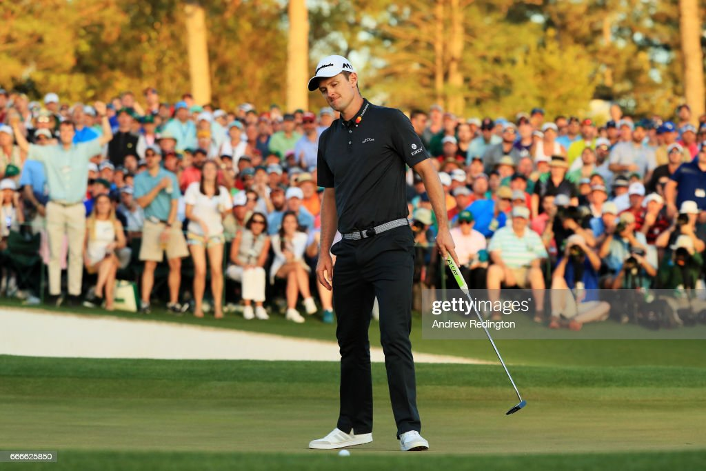 Justin Rose of England reacts to his missed putt on the first playoff hole during the final round of the 2017 Masters Tournament at Augusta National Golf Club on April 9, 2017 in Augusta, Georgia.