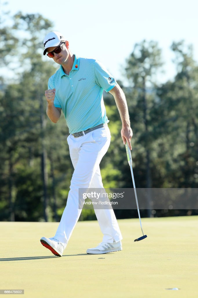 Justin Rose of England reacts to his putt on the 18th green during the third round of the 2017 Masters Tournament at Augusta National Golf Club on April 8, 2017 in Augusta, Georgia.