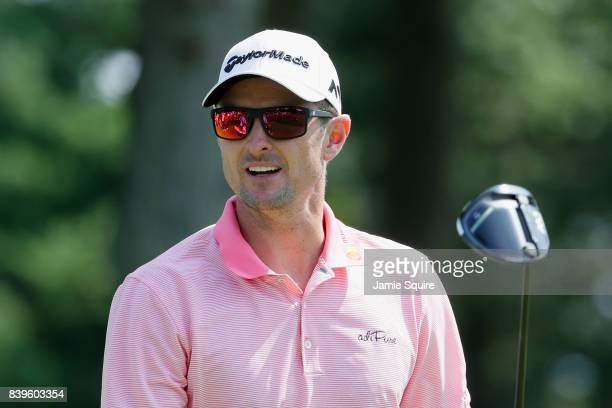 Justin Rose of England reacts to his shot from the fourth tee during round three of The Northern Trust at Glen Oaks Club on August 26 2017 in...