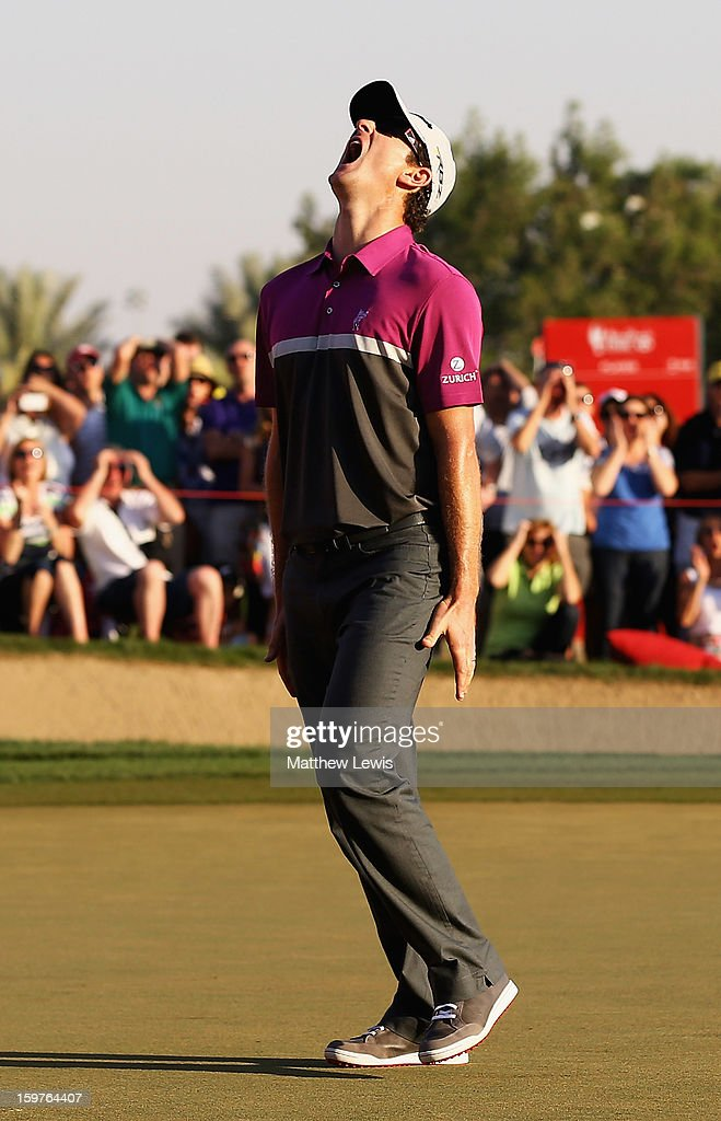 <a gi-track='captionPersonalityLinkClicked' href=/galleries/search?phrase=Justin+Rose&family=editorial&specificpeople=171559 ng-click='$event.stopPropagation()'>Justin Rose</a> of England shows his frustration, after missing a putt on the 18th green to go to a play-off during day four of the Abu Dhabi HSBC Golf Championship at Abu Dhabi Golf Club on January 20, 2013 in Abu Dhabi, United Arab Emirates.