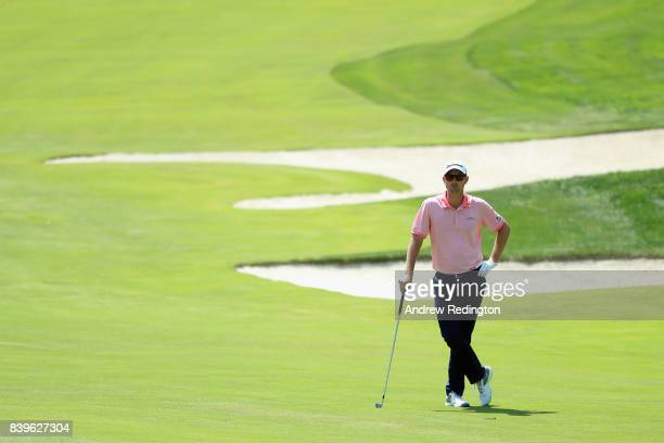 Justin Rose of England stands on the first hole during round three of The Northern Trust at Glen Oaks Club on August 26 2017 in Westbury New York
