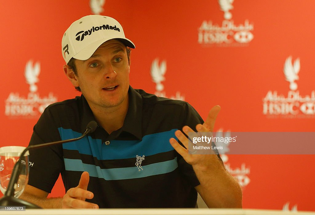Justin Rose of England talks to the media, after his round during day two of the Abu Dhabi HSBC Golf Championship at Abu Dhabi Golf Club on January 18, 2013 in Abu Dhabi, United Arab Emirates.