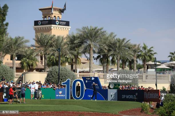 Justin Rose of England tees off on the 10th hole during the final round of the DP World Tour Championship at Jumeirah Golf Estates on November 19...