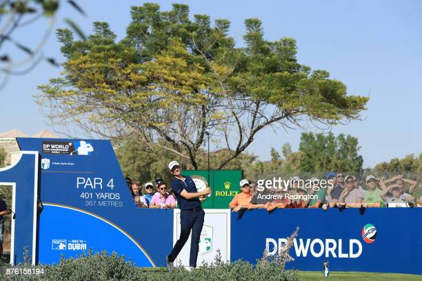 Justin Rose of England tees off on the 11th hole during the final round of the DP World Tour Championship at Jumeirah Golf Estates on November 19...