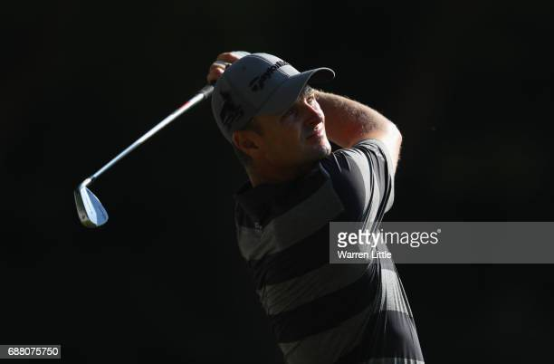 Justin Rose of England tees off on the 2nd hole during day one of the BMW PGA Championship at Wentworth on May 25 2017 in Virginia Water England