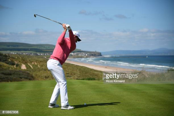 Justin Rose of England tees off on the1st hole during day three of the Dubai Duty Free Irish Open at Portstewart Golf Club on July 8 2017 in...
