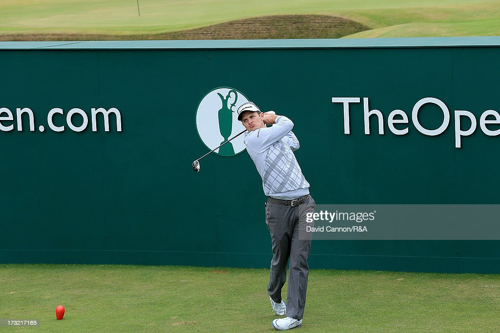 <a gi-track='captionPersonalityLinkClicked' href=/galleries/search?phrase=Justin+Rose&family=editorial&specificpeople=171559 ng-click='$event.stopPropagation()'>Justin Rose</a> of England the 2013 US Open Champion teeing off the first tee during a practice round as a preview for the 2013 Open Championship at Muirfield on July 10, 2013 in Gullane, Scotland.