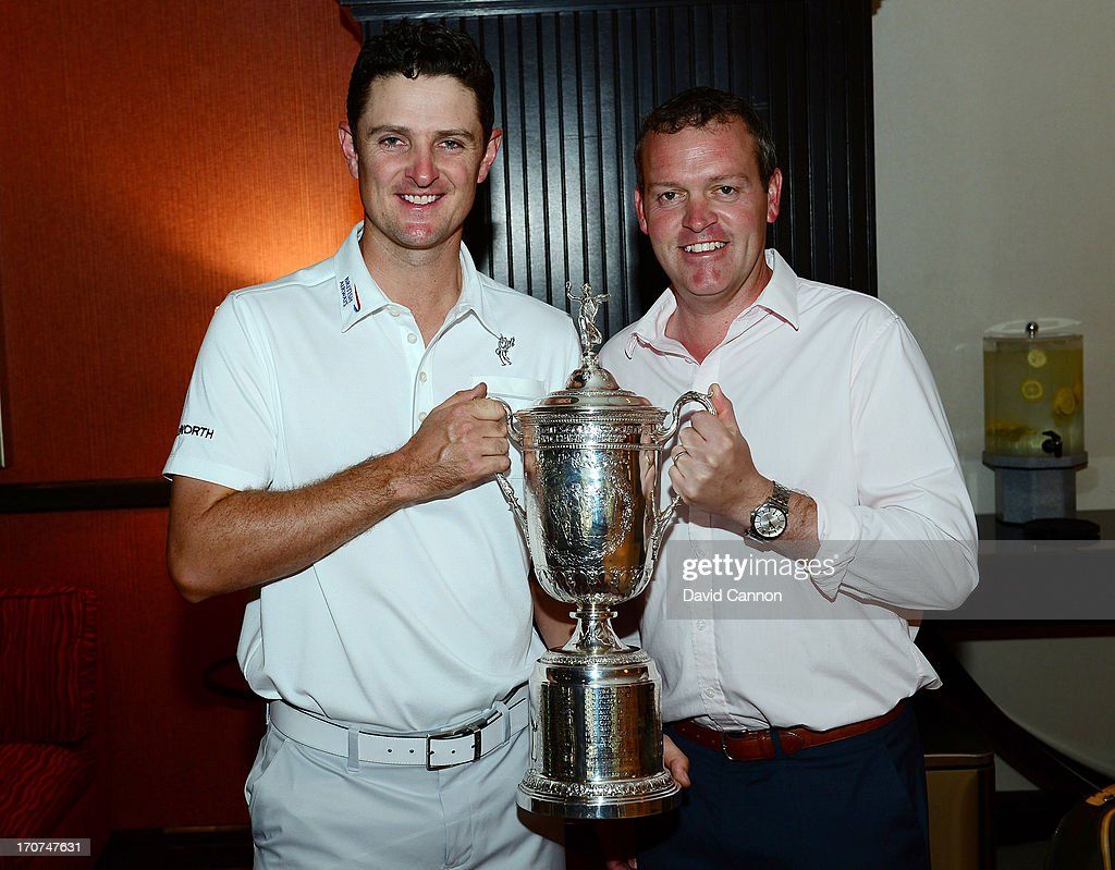 <a gi-track='captionPersonalityLinkClicked' href=/galleries/search?phrase=Justin+Rose&family=editorial&specificpeople=171559 ng-click='$event.stopPropagation()'>Justin Rose</a> of England the 2013 US Open Champion with his business manager Marcus Day on the morning after his triumph at Merion Golf Club at on June 17, 2013 in Conshohocken, Pennsylvania.