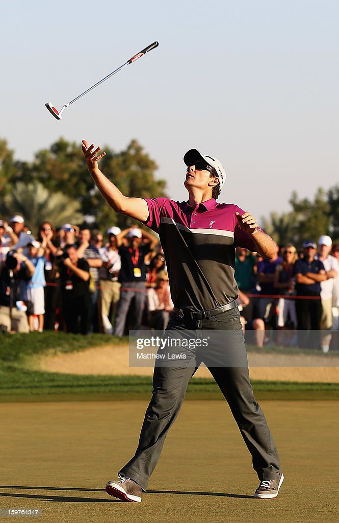 Justin Rose of England throws his putter in the air, after missing a putt to go to a play-off during day four of the Abu Dhabi HSBC Golf Championship at Abu Dhabi Golf Club on January 20, 2013 in Abu Dhabi, United Arab Emirates.