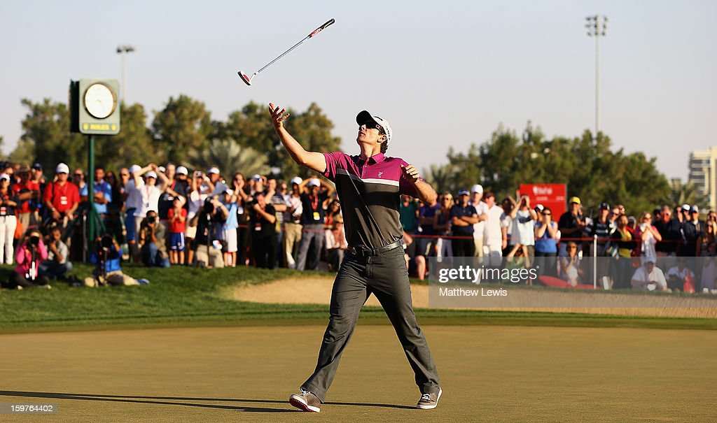 <a gi-track='captionPersonalityLinkClicked' href=/galleries/search?phrase=Justin+Rose&family=editorial&specificpeople=171559 ng-click='$event.stopPropagation()'>Justin Rose</a> of England throws his putter in the air, after missing a putt to go to a play-off during day four of the Abu Dhabi HSBC Golf Championship at Abu Dhabi Golf Club on January 20, 2013 in Abu Dhabi, United Arab Emirates.