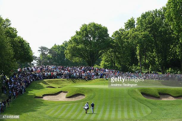 Justin Rose of England walks to the 2nd green during day 3 of the BMW PGA Championship at Wentworth on May 23 2015 in Virginia Water England