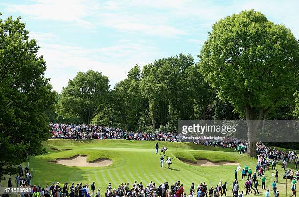 Justin Rose of England walks to the 2nd green during day 4 of the BMW PGA Championship at Wentworth on May 24 2015 in Virginia Water England