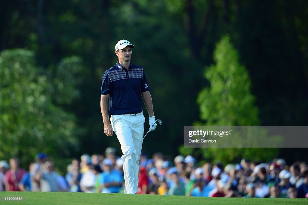 Justin Rose of England walks up a fairway during the final round of the 113th U.S. Open at Merion Golf Club on June 16, 2013 in Ardmore, Pennsylvania.