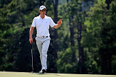 Justin Rose of England walks up the 18th fairway during the first round of the 2015 Masters Tournament at Augusta National Golf Club on April 9 2015...