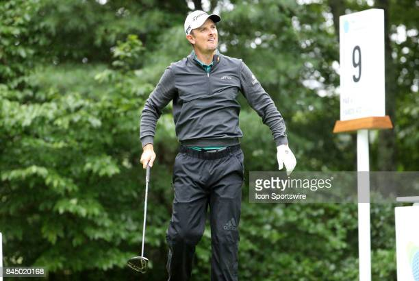 Justin Rose of England watches his drive on 9 during the third round of the Dell Technologies Championship on September 3 at TPC Boston in Norton...