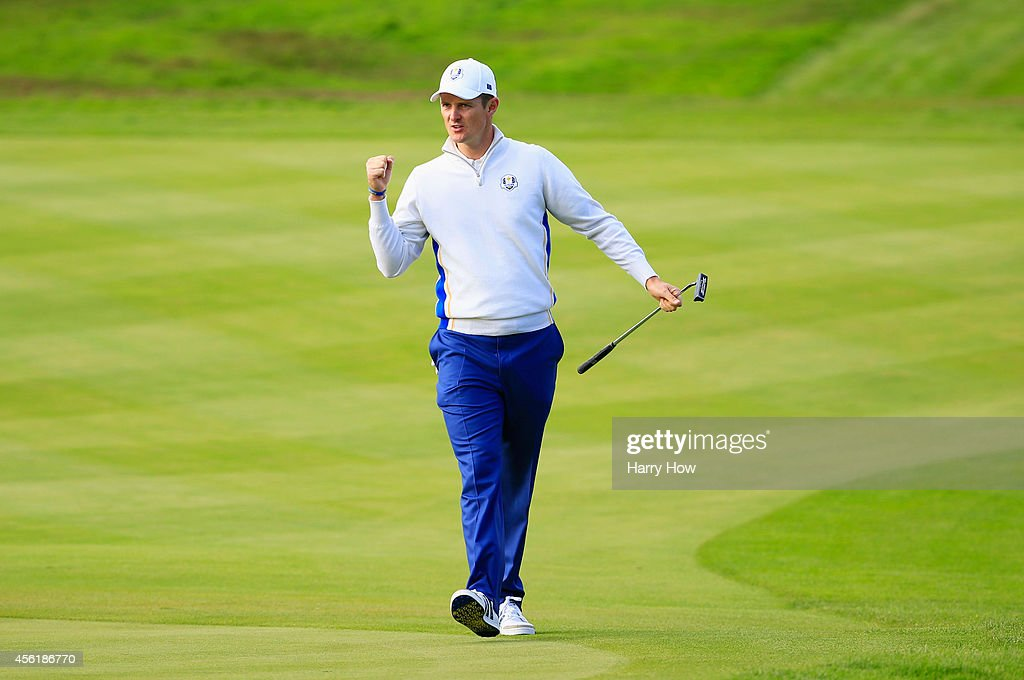 <a gi-track='captionPersonalityLinkClicked' href=/galleries/search?phrase=Justin+Rose&family=editorial&specificpeople=171559 ng-click='$event.stopPropagation()'>Justin Rose</a> of Europe celebrates after a shot during the Morning Fourballs of the 2014 Ryder Cup on the PGA Centenary course at the Gleneagles Hotel on September 27, 2014 in Auchterarder, Scotland.