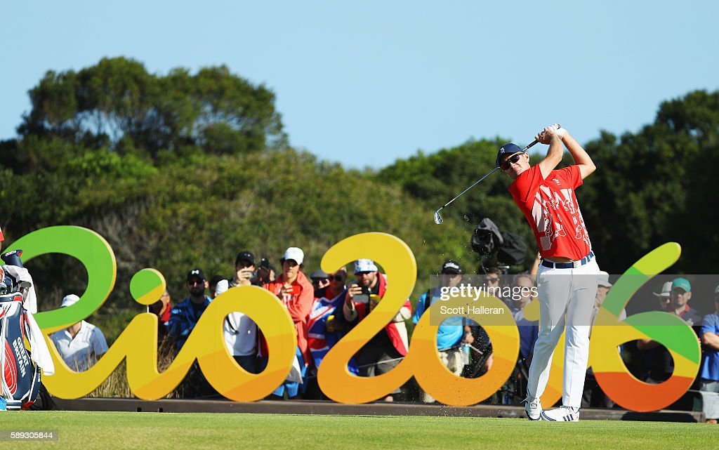 Justin Rose of Great Britain hits his tee shot on the 16th hole during the third round of the golf on Day 8 of the Rio 2016 Olympic Games at the...