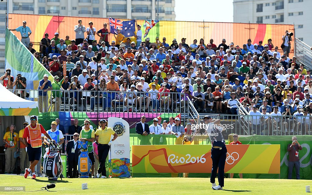 Justin Rose of Great Britain plays his shot from the first tee during the final round of golf on Day 9 of the Rio 2016 Olympic Games at the Olympic...