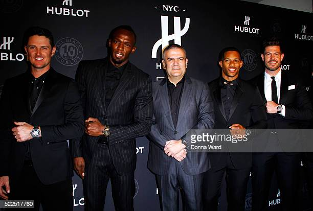 Justin Rose Usain Bolt Ricardo Guadalupe Victor Cruz and Jesse Palmer attend the 10th Anniversary celebration of the Hublot Black Collection at...