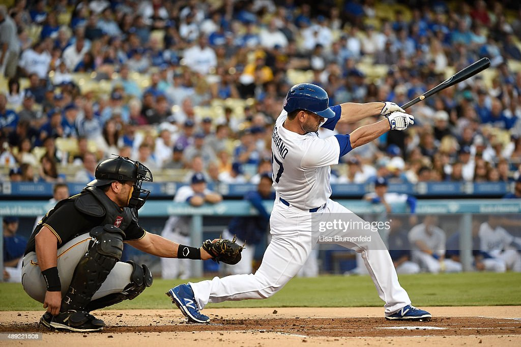 Justin Ruggiano #27 of the Los Angeles Dodgers hits a single in the first inning against the Pittsburgh Pirates at Dodger Stadium on September 19, 2015 in Los Angeles, California.