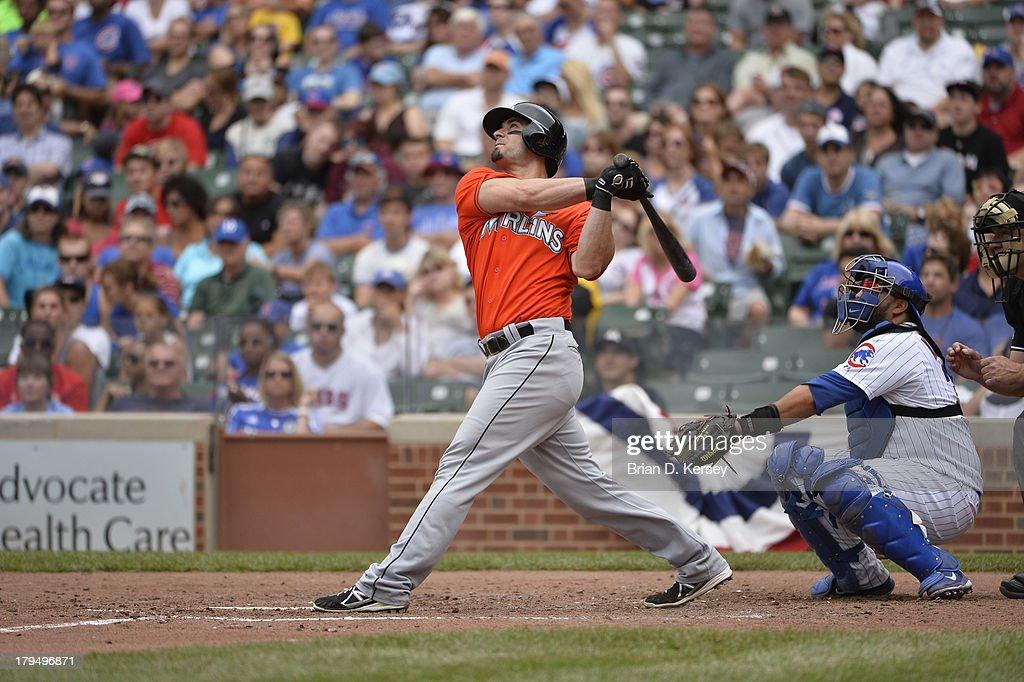 <a gi-track='captionPersonalityLinkClicked' href=/galleries/search?phrase=Justin+Ruggiano&family=editorial&specificpeople=4536828 ng-click='$event.stopPropagation()'>Justin Ruggiano</a> #20 of the Miami Marlins bats during the seventh inning against the Chicago Cubs at Wrigley Field on September 2, 2013 in Chicago, Illinois The Marlins defeated the Cubs 4-3.