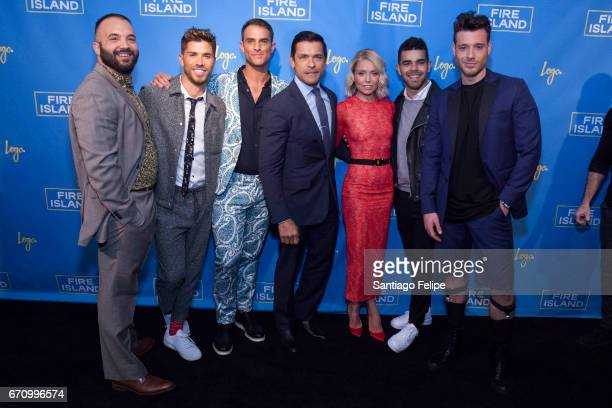 Justin Russo Cheyenne Parker Parker McDonald Mark Consuelos Kelly Ripa Brandon Osorio and Jorge Bustillo attend Logo TV Fire Island Premiere Party at...