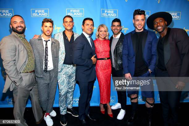 Justin Russo Cheyenne Parker Patrick McDonald Mark Consuelos Kelly Ripa Brandon Osorio Jorge Bustillos and Khasan Brailsford attend the 'Fire Island'...