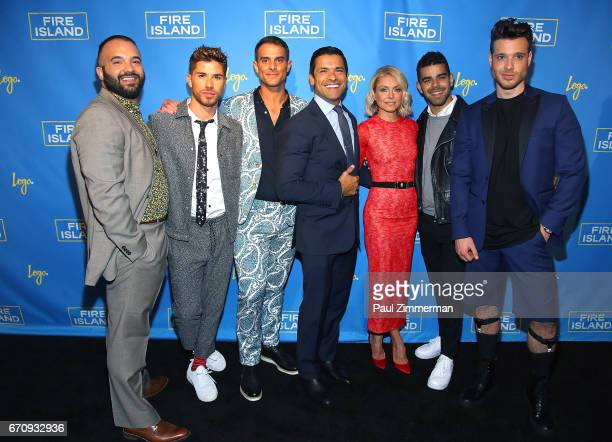 Justin Russo Cheyenne Parker Patrick McDonald Mark Consuelos Kelly Ripa Brandon Osorio and Jorge Bustillos attend the 'Fire Island' New York Premiere...