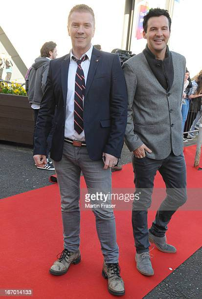 Justin Ryan and Colin McAllister attends the Young Scot Awards 2013 at Crowne Plaza on April 19 2013 in Glasgow Scotland