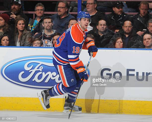 Justin Schultz of the Edmonton Oilers skates during a game against the Anaheim Ducks on February 16 2016 at Rexall Place in Edmonton Alberta Canada