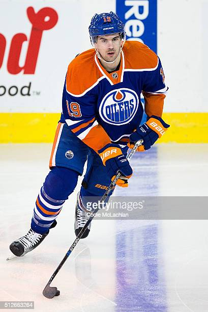 Justin Schultz of the Edmonton Oilers skates during warmup during a game against the Ottawa Senators on February 23 2016 at Rexall Place in Edmonton...