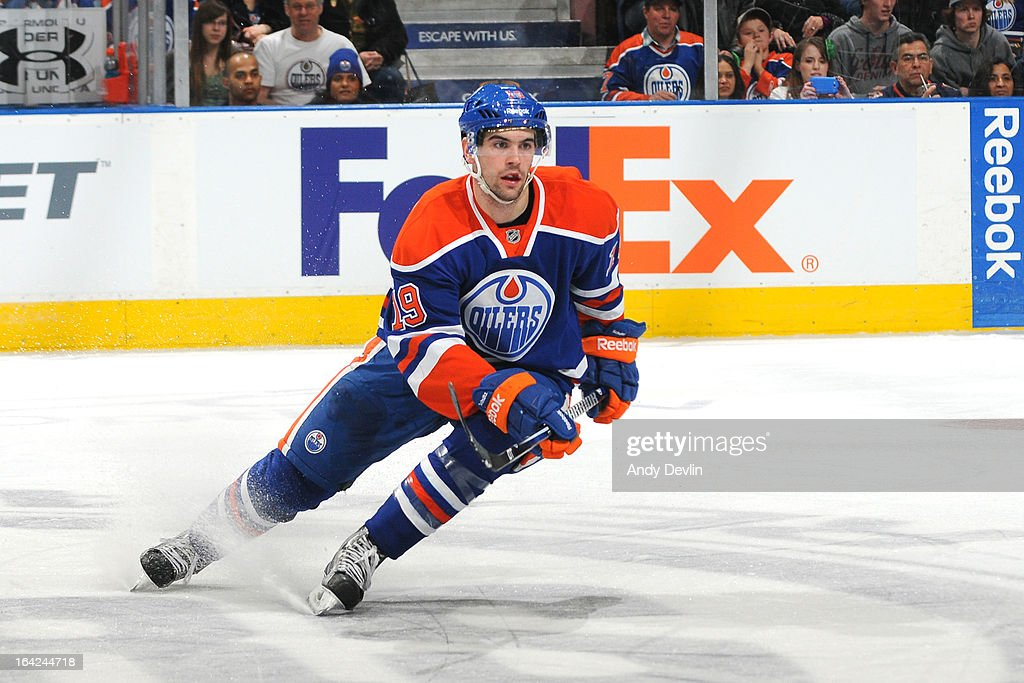 Justin Schultz #19 of the Edmonton Oilers skates on the ice in a game against the Nashville Predators on March 17, 2013 at Rexall Place in Edmonton, Alberta, Canada.
