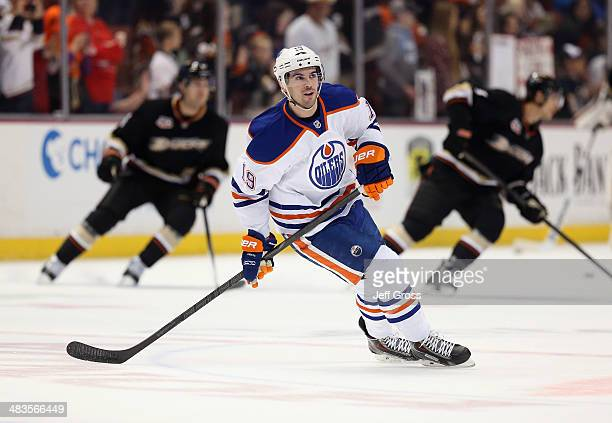 Justin Schultz of the Edmonton Oilers skates prior to the start of the game against the Anaheim Ducks at Honda Center on April 2 2014 in Anaheim...