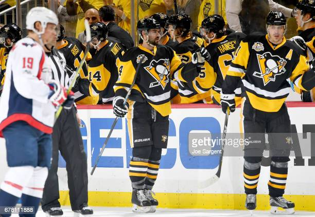 Justin Schultz of the Pittsburgh Penguins celebrates his second period goal against the Washington Capitals in Game Four of the Eastern Conference...