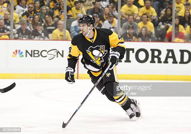 Justin Schultz of the Pittsburgh Penguins in action in Game One of the Eastern Conference First Round during the 2016 NHL Stanley Cup Playoffs...