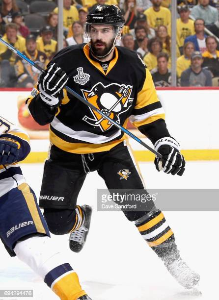 Justin Schultz of the Pittsburgh Penguins plays against the Nashville Predators during the second period of Game Five of the 2017 NHL Stanley Cup...