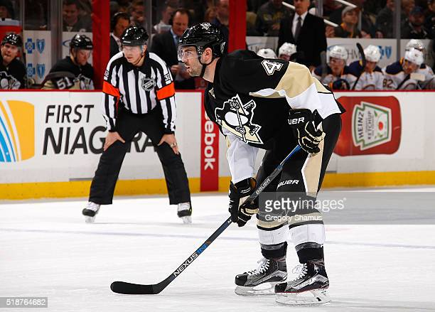 Justin Schultz of the Pittsburgh Penguins skates against the Buffalo Sabres at Consol Energy Center on March 29 2016 in Pittsburgh Pennsylvania