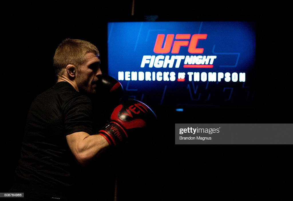 Justin Scoggins warms up backstage during the UFC Fight Night Las Vegas: Hendricks vs Thompson event inside MGM Grand Garden Arena on February 6, 2016 in Las Vegas Nevada.