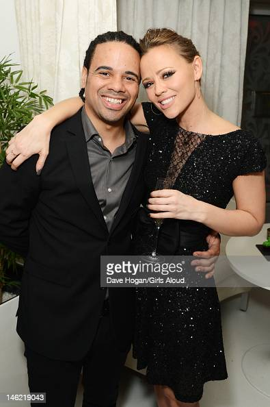Justin Scott and Kimberley Walsh attends a party to celebrate Kimberley Walsh's last appearance as Princess Fiona in the musical 'Shrek' at Vanilla...